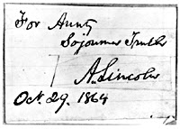 Abraham Lincoln Note to Sojourner Truth