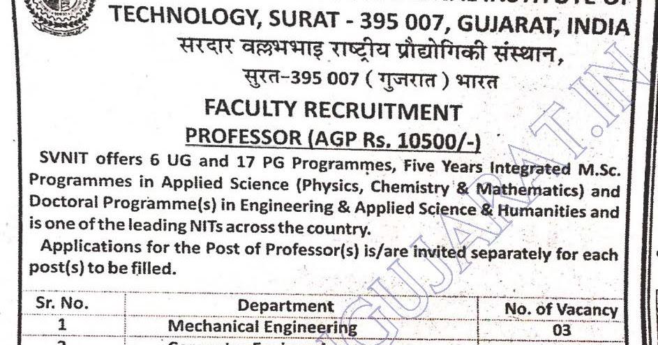 svnit exam Sardar vallabhbhai nit has depicted the svnit surat recruitment 2018 apply for 129 professor, assistant professor & associate professor posts @svnitacin.
