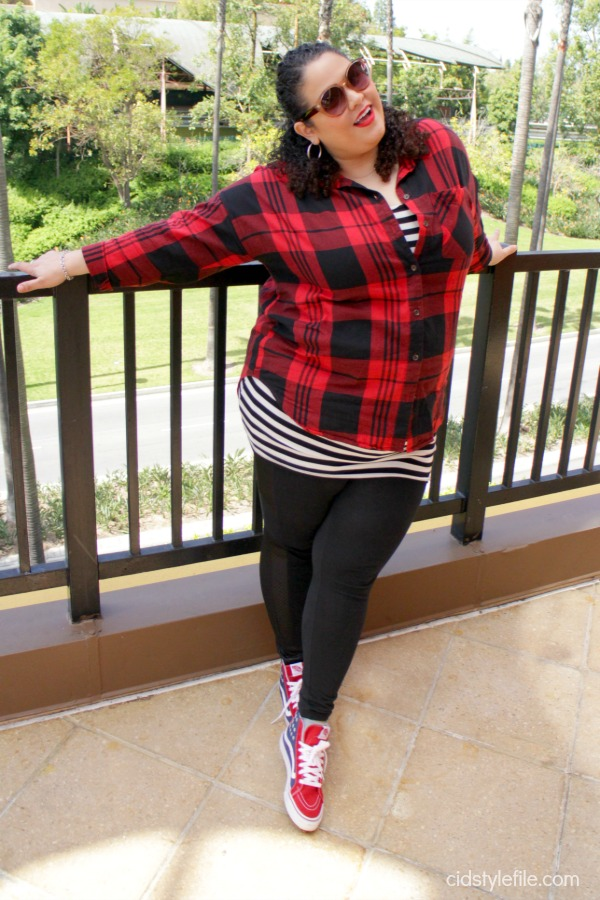brunch, tortilla jos, downtown disney, red plaid, stripes, vans, plus fashion, city chic, comfy, cute, ootd, latina blogger, style over 40, style has no size, gigasavvy,