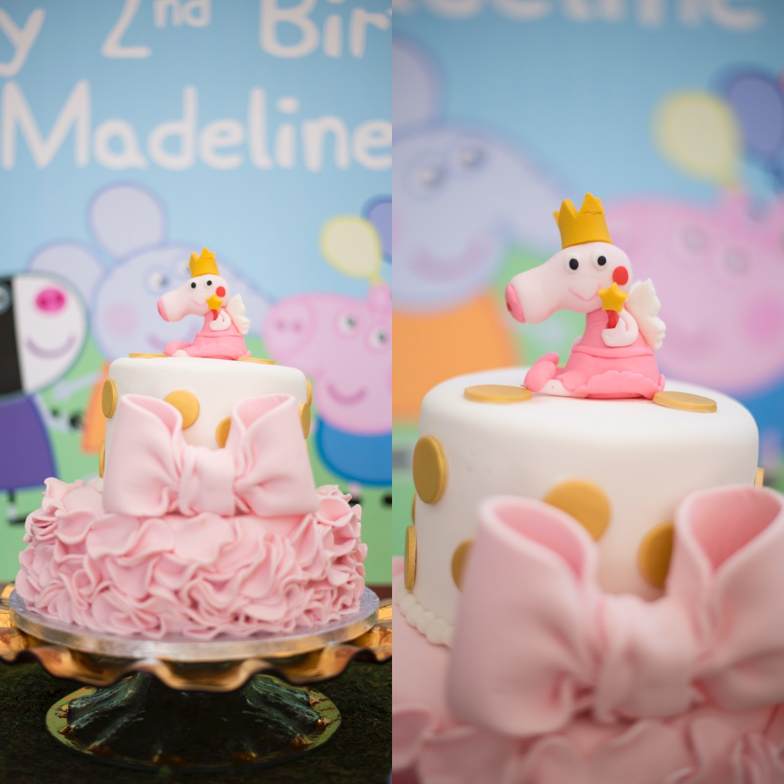 Peppa Pig birthday cake - Click through to see more on Something Delightful Blog