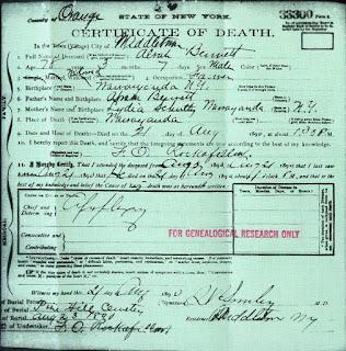 Alvah Bennett's death certificate August 21, 1890