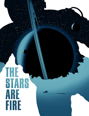The cover of The Stars Are Fire with the shape of a person in a space suit filled with illustrations of ringed planets and the stars.
