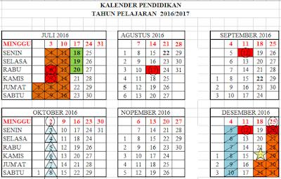 Kalender Pendidikan tahun 2016-2017