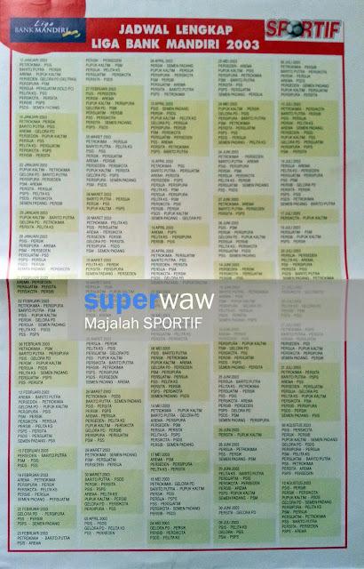 Jadwal Lengkap Liga Bank Mandiri 2003