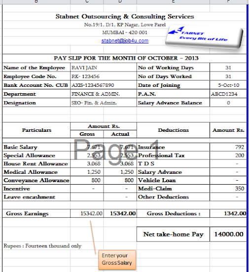 Doc529737 Payslip Format Payslip Format Word and Excel – Payslip in Word Format