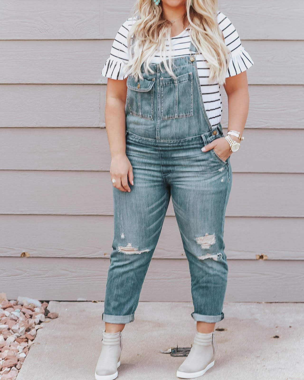 Denim Overalls styled by popular Denver fashion blogger, Delayna Denaye