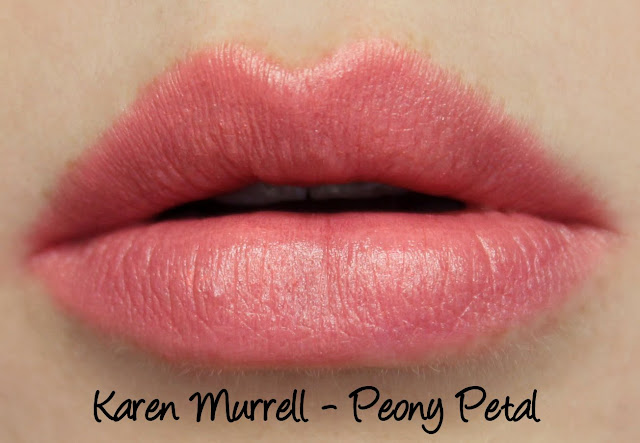 Karen Murrell - Peony Petal Lipstick Swatches & Review