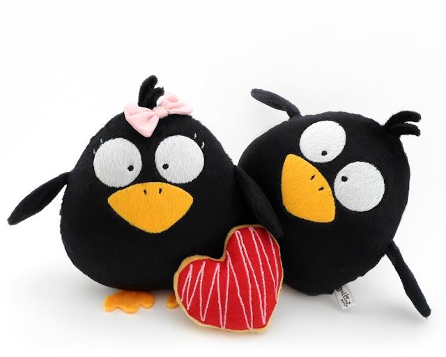 Pareja de boda personalizada, cuervos de peluche guyuminos regalo aniversario amor pájaro ave kawaii tierno gotico dark crow raven plushie plush toy halloween gift