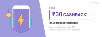 PhonePe - ₹30 Cashback on Completing Any 2 Prepaid Recharges on 5th June
