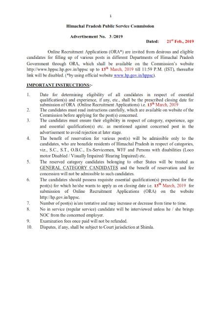 Recruitment of 79 Various posts in HPPSC, Himachal Pradesh