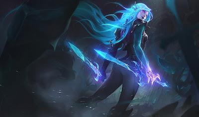 Chica con pelo azul y dos armas brutales que echan luz morada