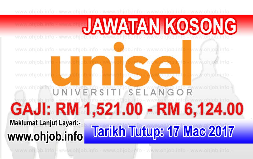 Jawatan Kerja Kosong UNISEL - Universiti Selangor logo www.ohjob.info mac 2017