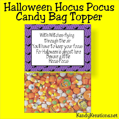 Celebrate Hocus Pocus season with this fun Halloween bag topper printable.  This bag topper is perfect for a Hocus Pocus viewing party or for giving to your trick or treaters at your Halloween party.