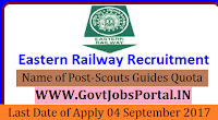 Eastern Railway Recruitment 2017– Scouts Guides Quota