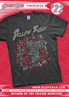 Valentine's Day Pillow Fight T-Shirt by Sleepy Dan