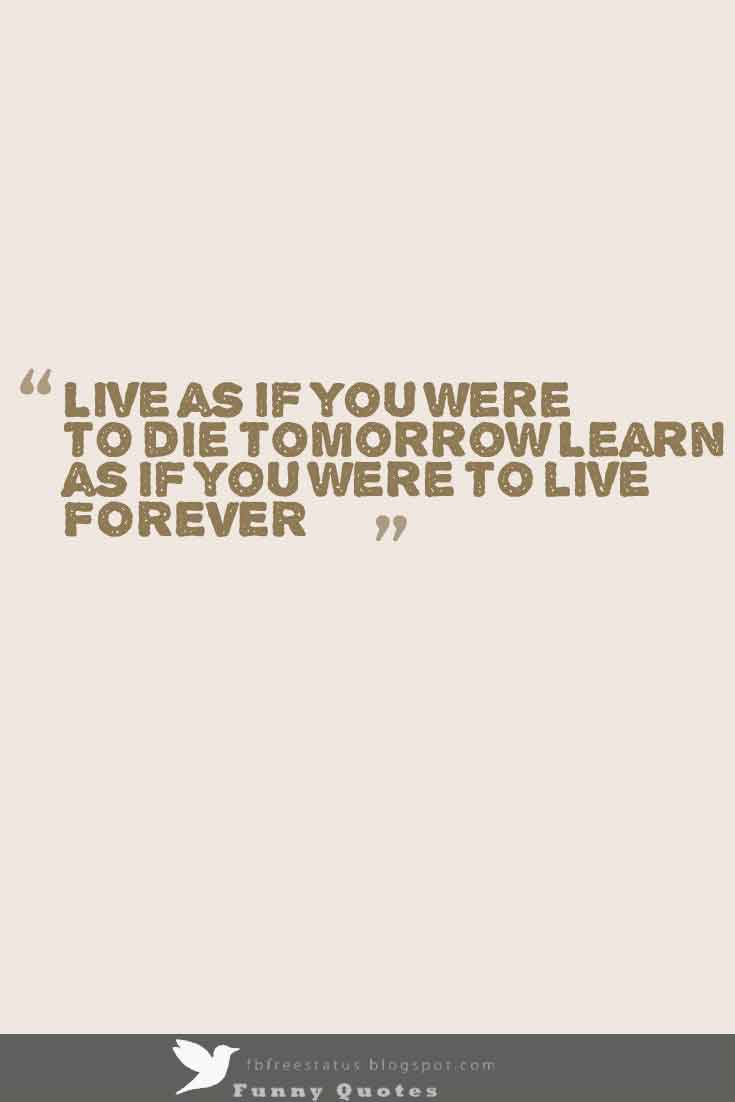 Live as if you were to die tomorrow Learn as if you were to live FOREVER�