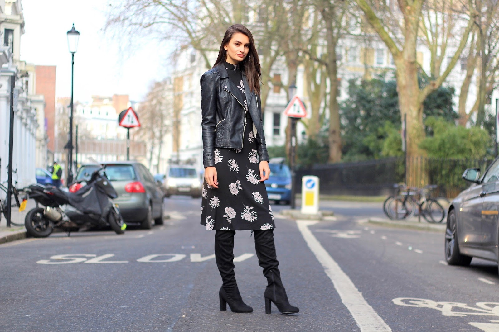 peexo style blogger fashion midi dress knee high boots