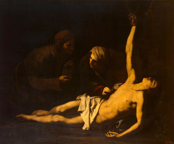 St Sebastian Cured by St Irene by Jose de Ribera, Macabre Art, Macabre Paintings, Horror Paintings, Freak Art, Freak Paintings, Horror Picture, Terror Pictures