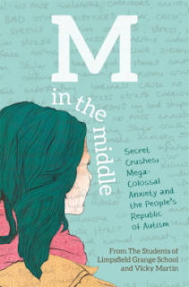Book cover, 'M in the Middle.' Colored-in drawing of pale-skinned girl with dark hair rendered in profile
