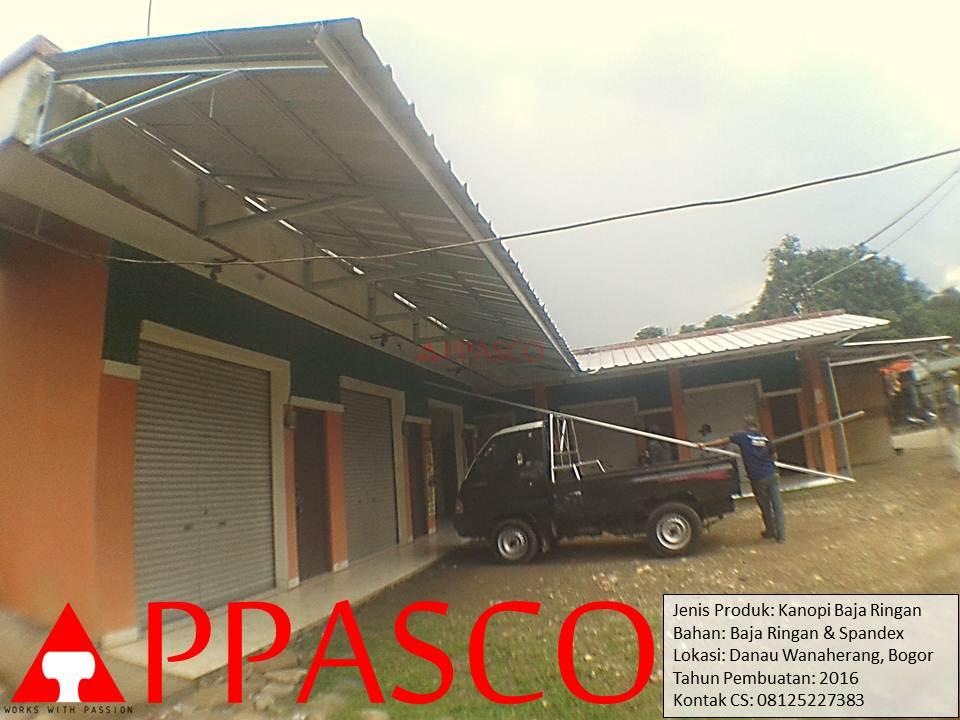 Kanopi Minimalis Baja Ringan untuk Teras Toko di Danau Wanaherang Bogor