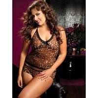 Seven Til Midnight Plus Size Sheer Leopard Print Mesh Camisole Set
