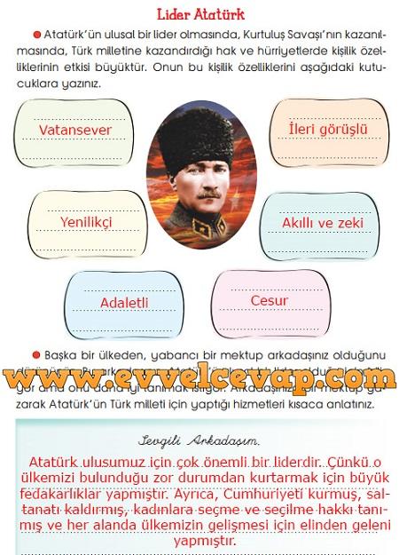 3. Sınıf Sevgi Yayınları Hayat Bilgisi Çalışma Kitabı 92. Sayfa Cevapları Lider Atatürk Metni