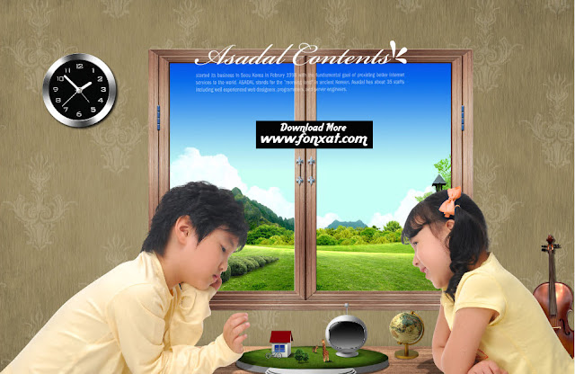 FREE PSD download : The design of a boy and girl playing