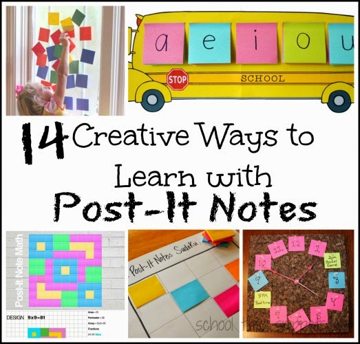 Art, Math, Literacy Activities Using Post It Notes