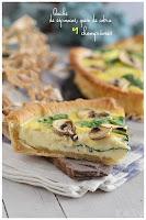 Quiche de espinacas, queso de cabra y champiñones- Tarta salada derivada de la quiche lorraine francesa