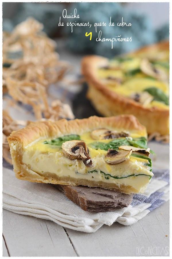 Quiche de espinacas, queso de cabra y champiñones- Tarta salada derivada de la quiche lorraine