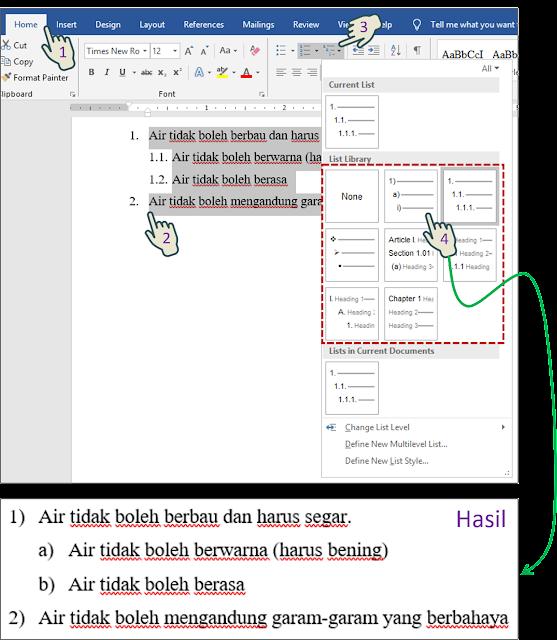 Mengubah Simbol Bullet, Numbering Style atau Multilevel List Pattern 3