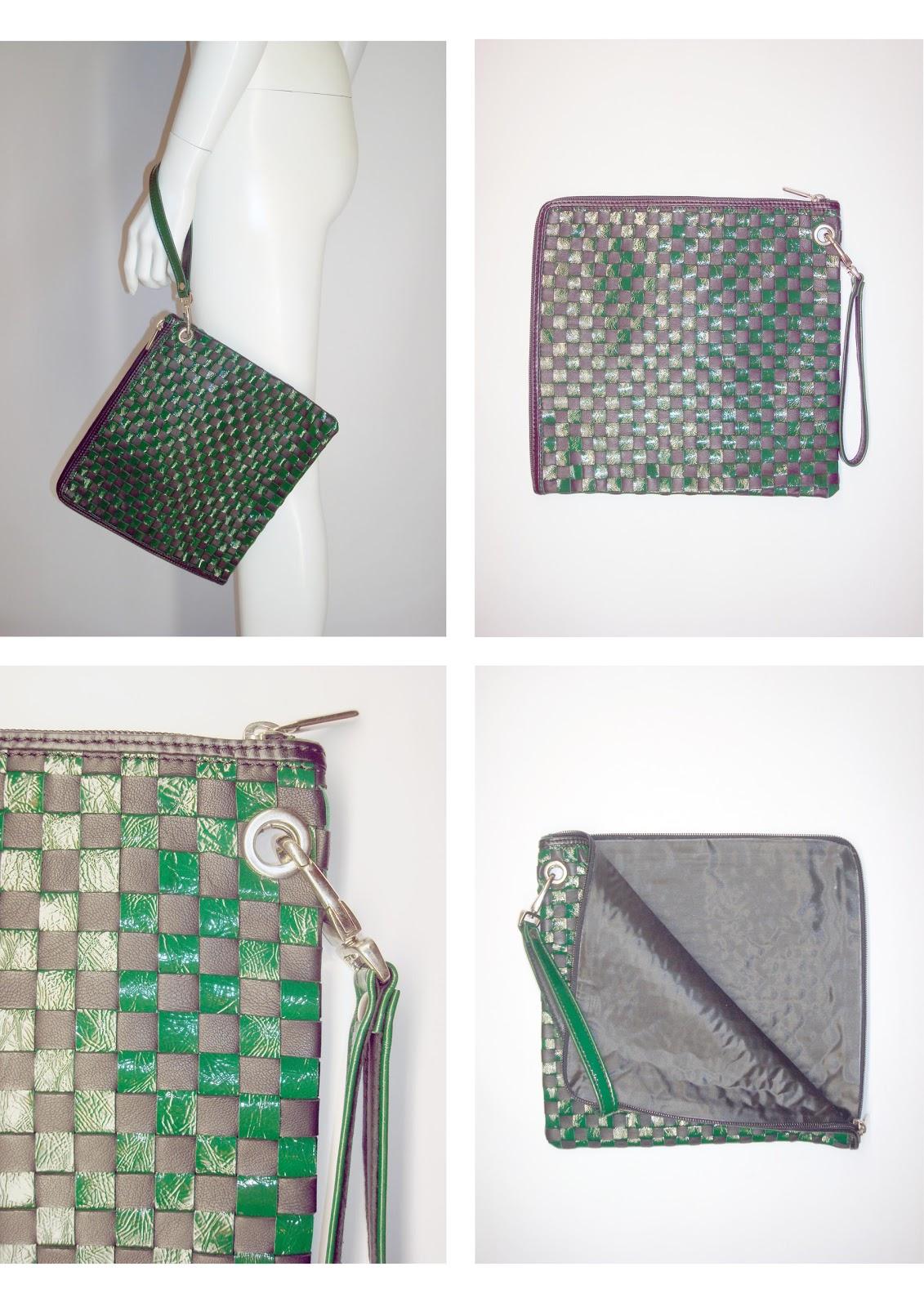 383486587c Andrea Pelleterie Artigianali: Pochette intreccio nero/verde (25x25)