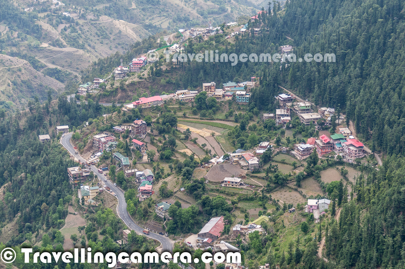 Aerial View Of Sanjauli Town Near Shimla Himachal Pradesh Only Jakhu Tibba Can Promise Such