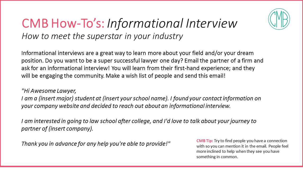 CMB How Tos Informational Interview Email