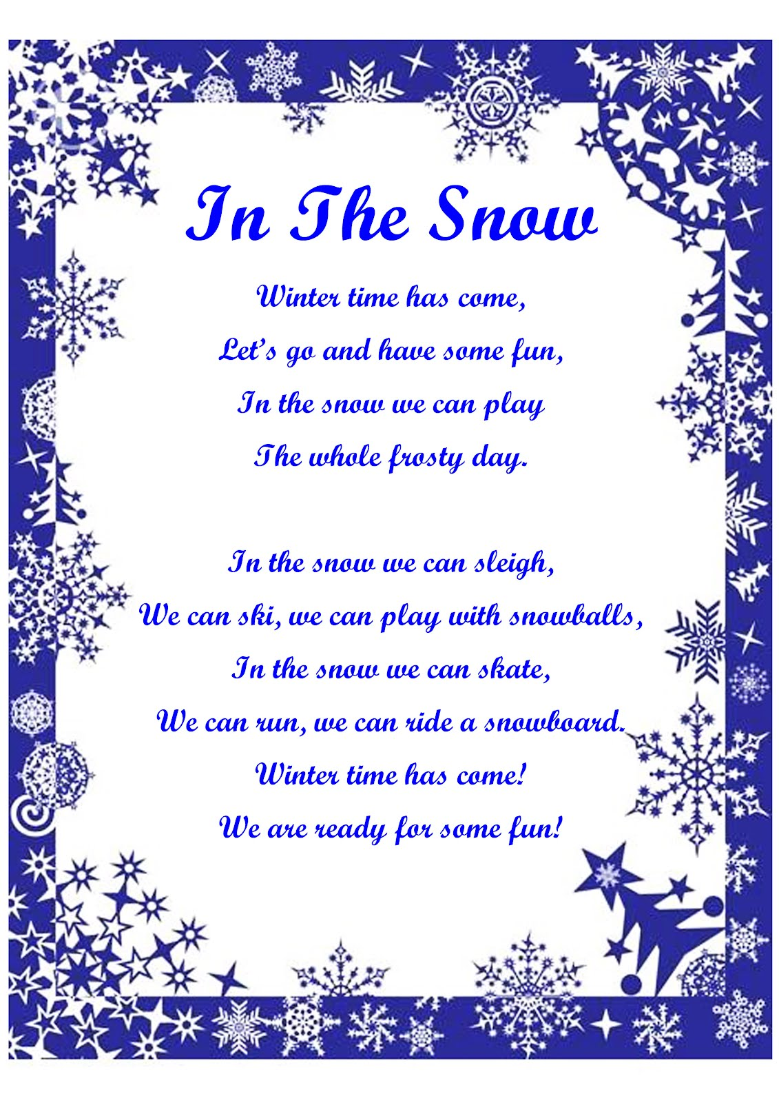 esl winter activity song lyrics