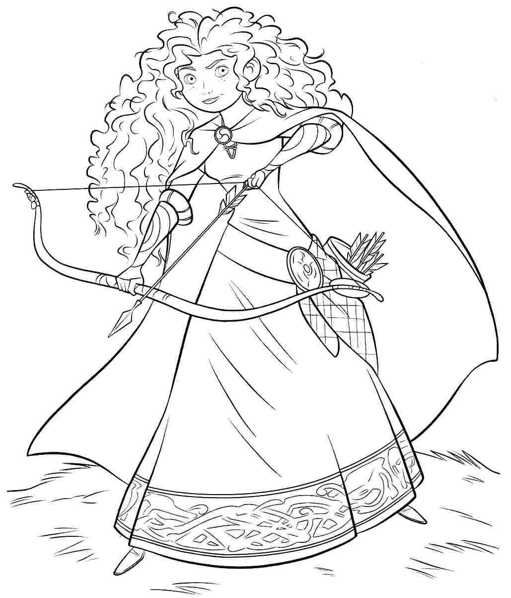 Free Printable Merida Disney Princess Coloring Pages
