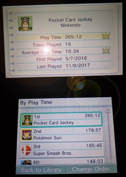 Pocket Card Jockey Nintendo 3DS glitched Activity Log play time