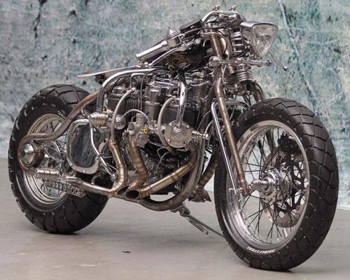 Tinuku.com Psychoengine studio build Honda GL 200 single-cylinder engine turns into Five Dragons 5-cylinder