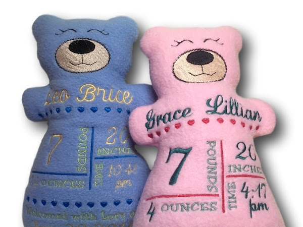 Birth Announcement Embroidered Bears