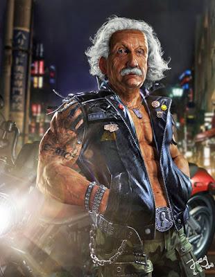 Albert Einstein als Rocker mit Leder Kutte und Tattoos