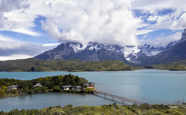 View from above Lake Pehoe in Torres del Paine National Park in Patagonia