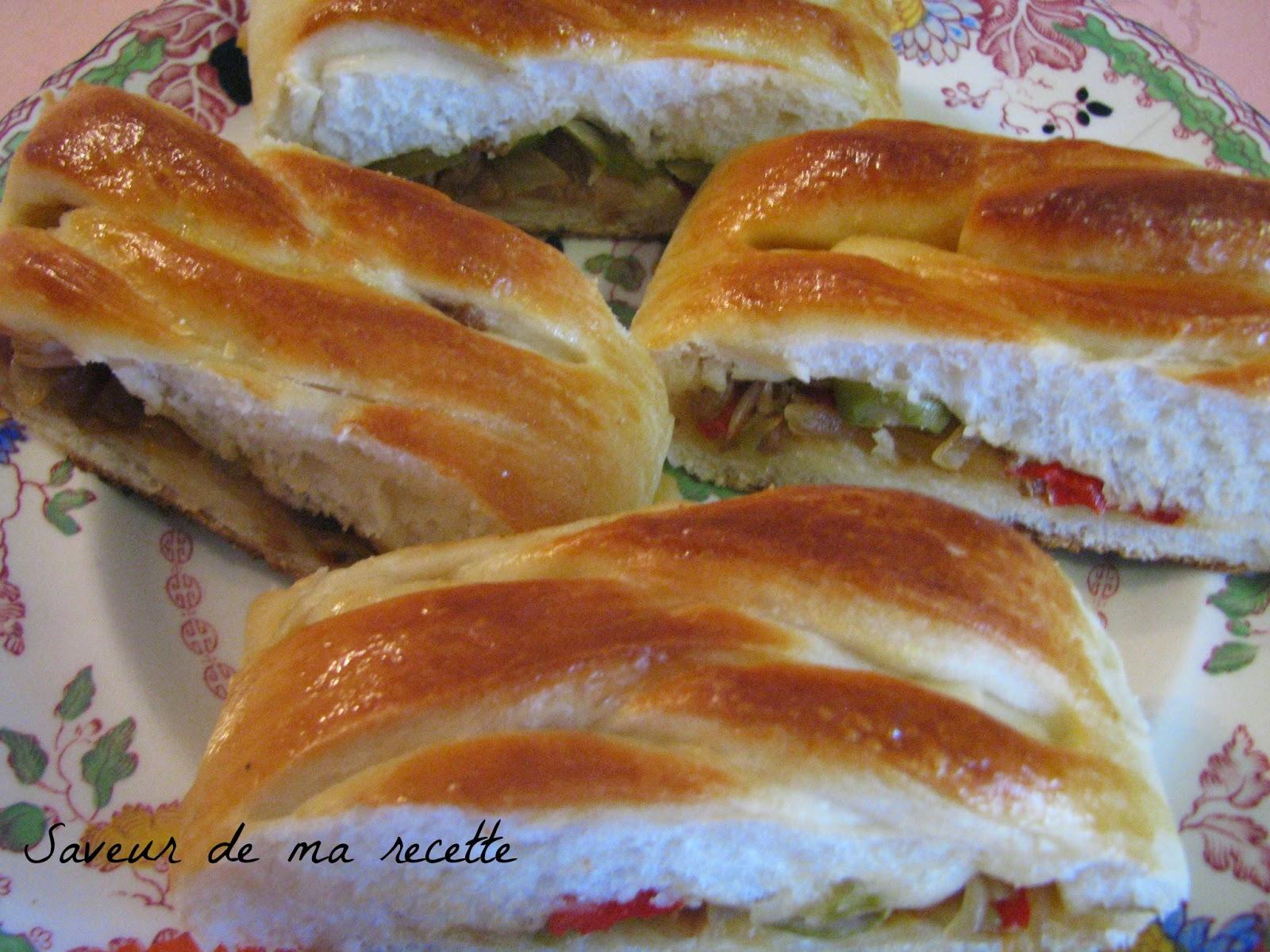 Saveur de ma recette pain farci au thon et poivron - Recette pain sans levure ...