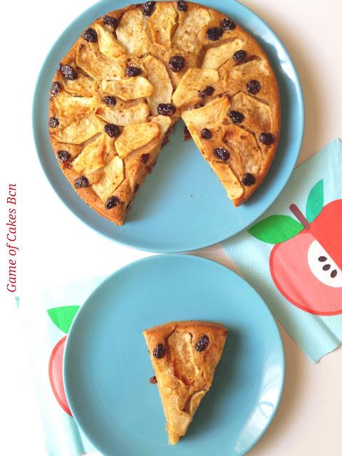 tarta de manzana y arándanos vegana y sin grasas