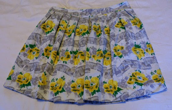 Yellow rose print fabric 1950s style skirt