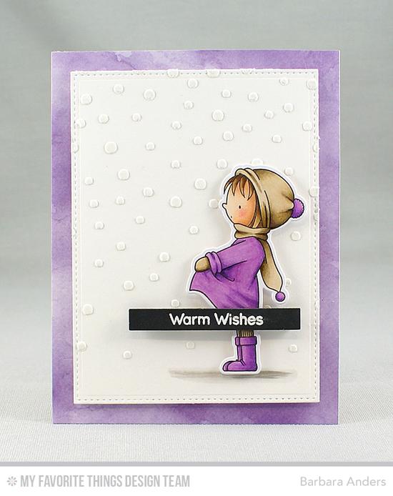 Handmade card from Barbara Anders featuring Birdie Brown Toasty Greetings stamp set, Birdie Brown Warmest Wishes stamp set and Die-namics, Blueprints 20 Die-namics, Snowfall stencil #mftstamps