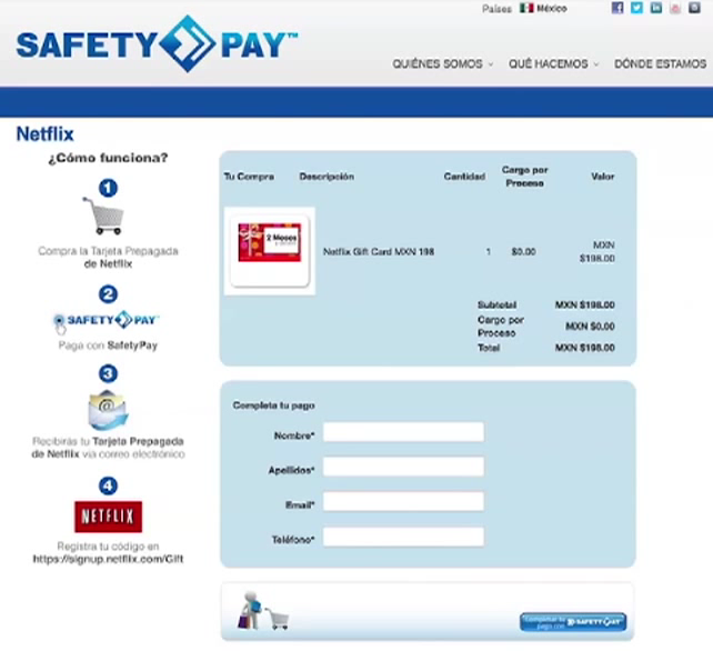 SafetyPay Account Deposit Screen
