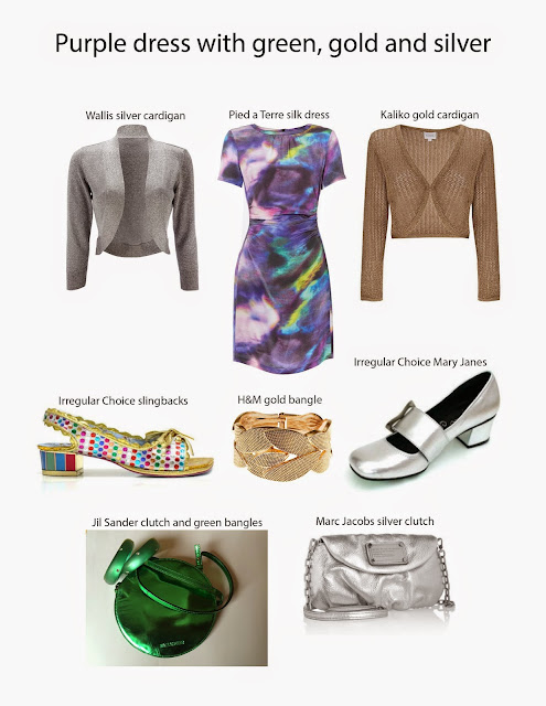 Kaffesoester's purple Pied a Terre dress with accessory ideas