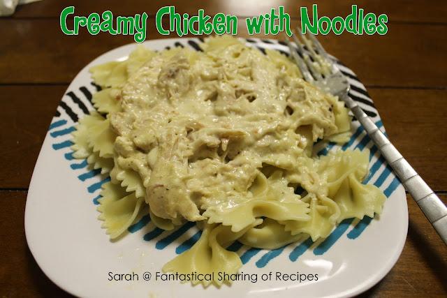 "Creamy Chicken with Noodles // This crockpot chicken pasta ""sauce"" is the best comfort meal ever! #recipe #pasta #chicken #crockpot"