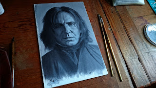 Underpainting for portrait of Alan Rickman as Severus Snape by Robin Springett