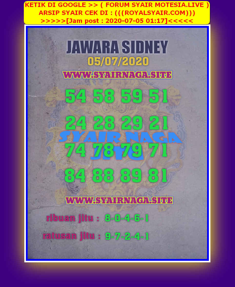 Kode syair Sydney Minggu 5 Juli 2020 215